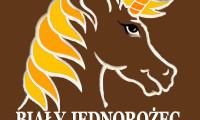 Logo Bialy Jednorozec z tlem